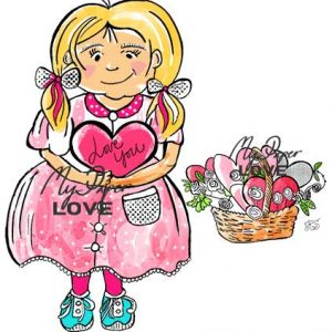 Girl with flower Basket for scrapbooking and digital stamps