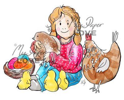 Flicka med kycklingar digital stämpel