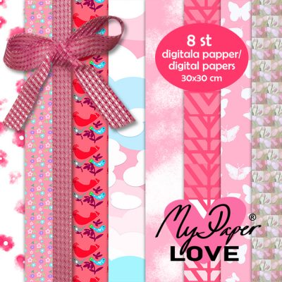 Digital paper red pink