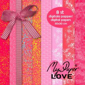 Digitala papper röda rosa