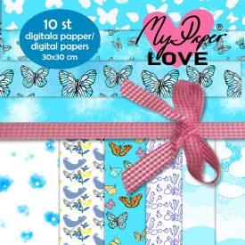 Digitala papper blå mönster
