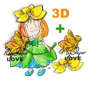 3D kort Blomsterflicka
