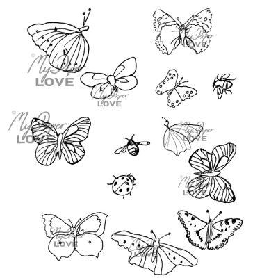 Fjärilar småkryp digital stämpel