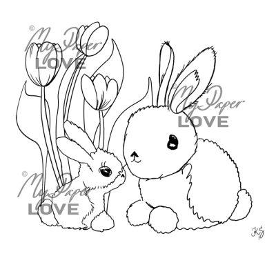 Kaniner och tulpaner digital stämpel