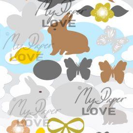 Påskbilder digitala för scrapbooking kanin, ägg och fjäril