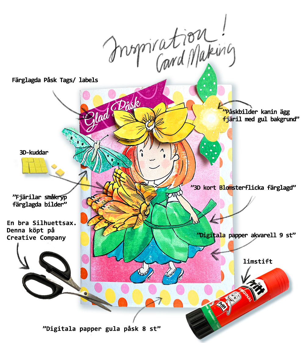 Inspiration korttillverkning Blomsterflickan