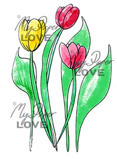 Tulpaner färglagda för Scrapbooking