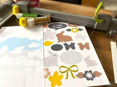 Påskbilder för scrapbooking kanin, ägg och fjäril