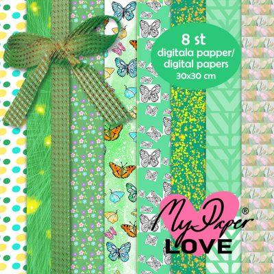 Digitala gröna papper till Scrapbooking och korttillverkning