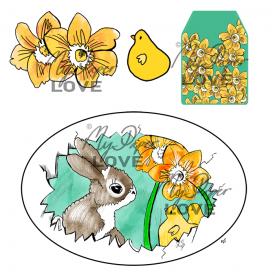 Kanin och påskägg färglagd scrapbooking