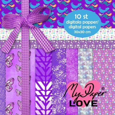 Digital paper purple pattern