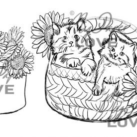 Digital stamp cats in basket with sunflowers