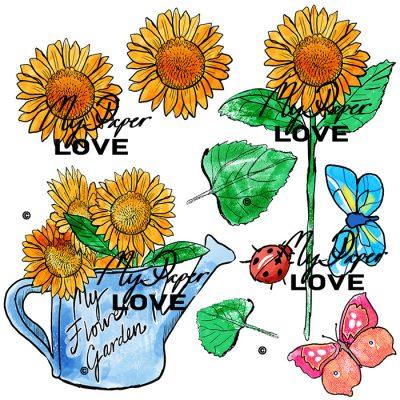 Digital stämpel färglagd solrosor My Flower Garden