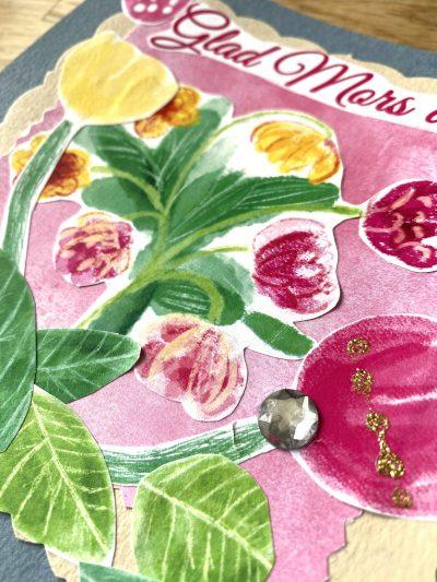 Inspiration pink flowers digital stamp