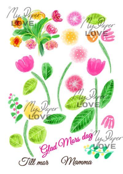 Pink flowers digital stamp