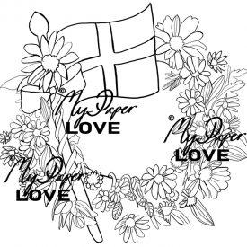 Flagga och blommor digital stämpel